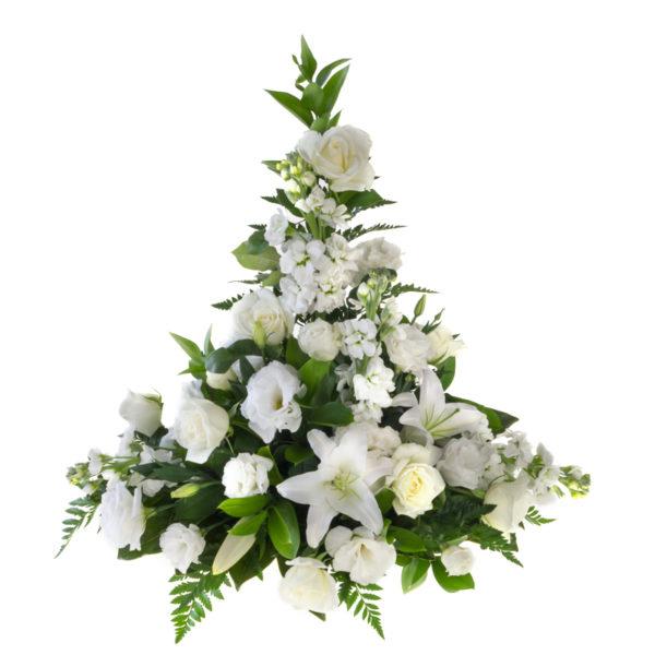 White funeral flower arrangement