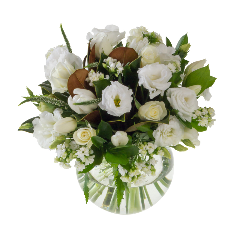White and green floral arrangement in Browns Bay Auckland
